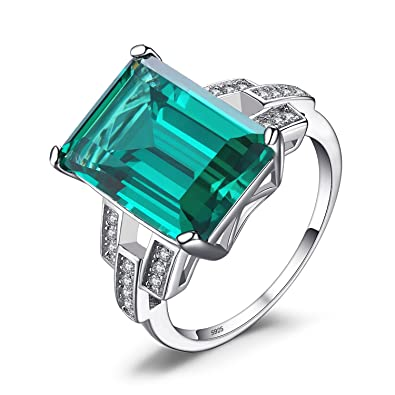 Jewelrypalace Luxury Emerald Cut 9.2ct Created Red Ruby Cocktail Ring 925 Sterling Silver Size R