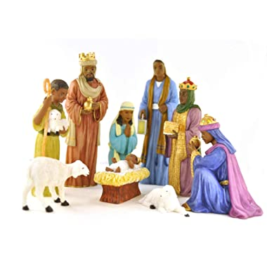 9 Piece Nativity Set: African American