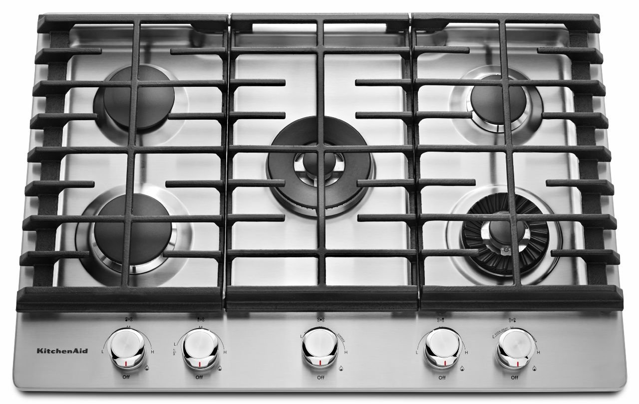 KITCHENAID KCGS950ESS 30'' Wide Gas Cooktop with Griddle, 5 Sealed Burners, Even-Heat 10K BTU Torch Burner, 17K BTU Professional Dual Ring Burner, Electronic Ignition, Lighted Knobs in Stainless Steel