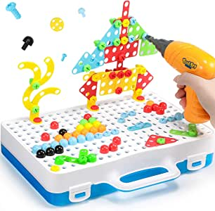 Geyiie Electric Drill Puzzle, STEM Learning Toys for DIY Hands-on 3D Construction Engineering Building Blocks for Boys and Girls to Disassemble Screw Nut for Kids Creative Games