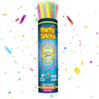 PartySticks Glow Sticks Party Supplies 100pk - 8 Inch Glow in the Dark Light Up Sticks Party Favors, Glow Party…