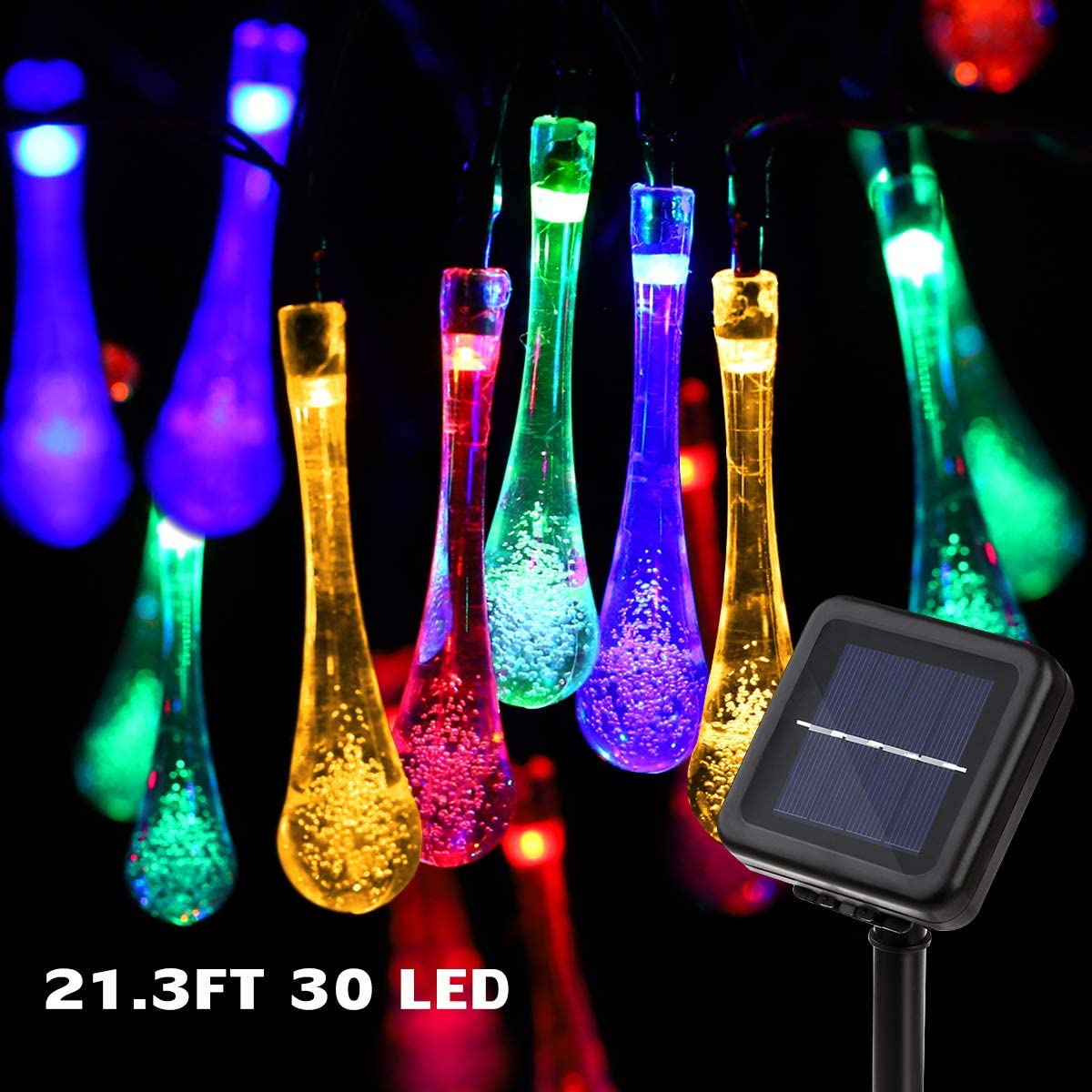 YUNLIGHTS Solar String Lights Outdoor, 21.3 Feet 30 LED Waterproof Solar Raindrop String Lights - Solar String Lights Waterdrop - Solar Powered Fairy Lights for Garden Yard Home Patio(Multi-Color)