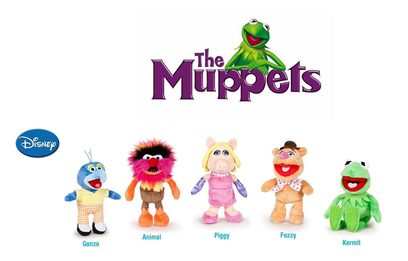 The Muppets - Pack 5 plush toy Quality super soft - Kermit the frog 22cm + Miss Piggy 20cm + Gonzo 19cm + Fozzie the bear 21cm + Animal 20cm by The Muppets