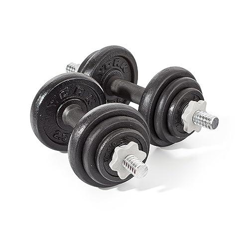 York Fitness Cast Iron Dumbbell Spinlock Set (Pack of 2) - Black, 20 Kg
