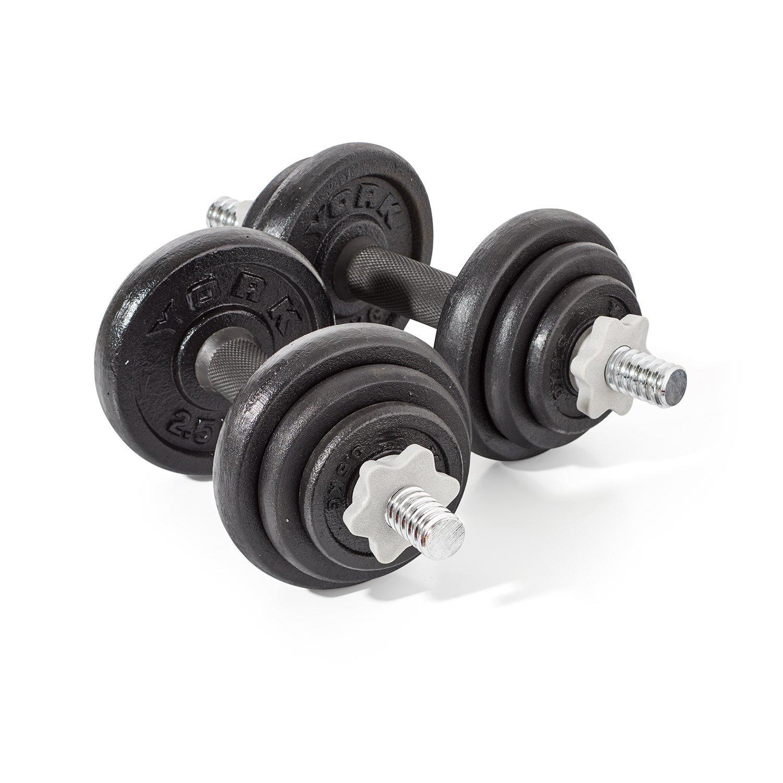 Voit Dumbbell Set 20kg: York Fitness Cast Iron Dumbbell Set - 20kg