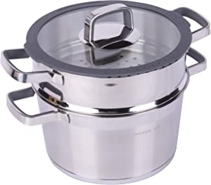MAISON HUIS Stainless Steel Double Layers Pot for Cooking Soup and Steaming Food Rice,4.3-Quart Pot with Basket 9.45 in Diameter and Tempered Glass Lid Septa on Gas, Grill Stove, Electric Silver