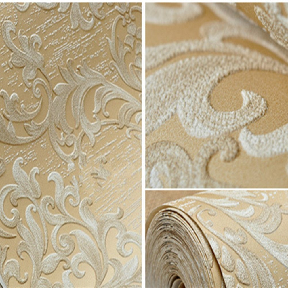 Luxury Decorative Pattern Dark Gold Wallpaper (20.5 inches Wide) by Wallpaper (Image #4)