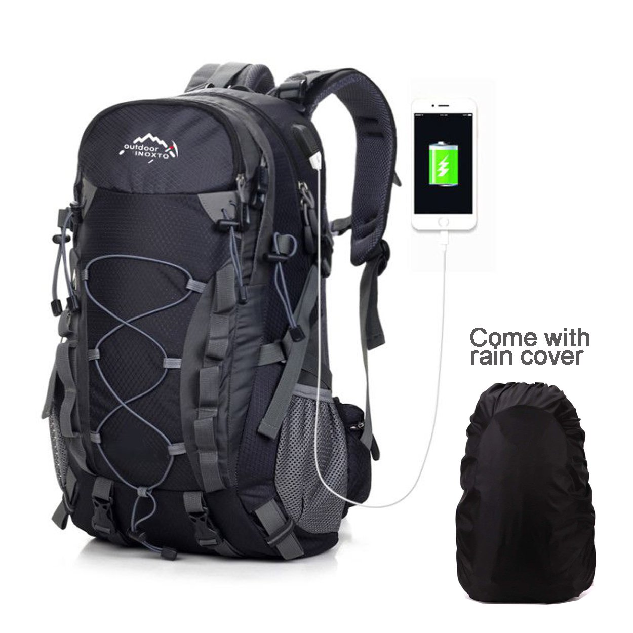 40L Hiking Backpack Outdoor Waterproof Camping Trekking Rucksack Traveling Climbing Backpack Mountaineering Bag with Rain Cover Travel Backpack Netchain