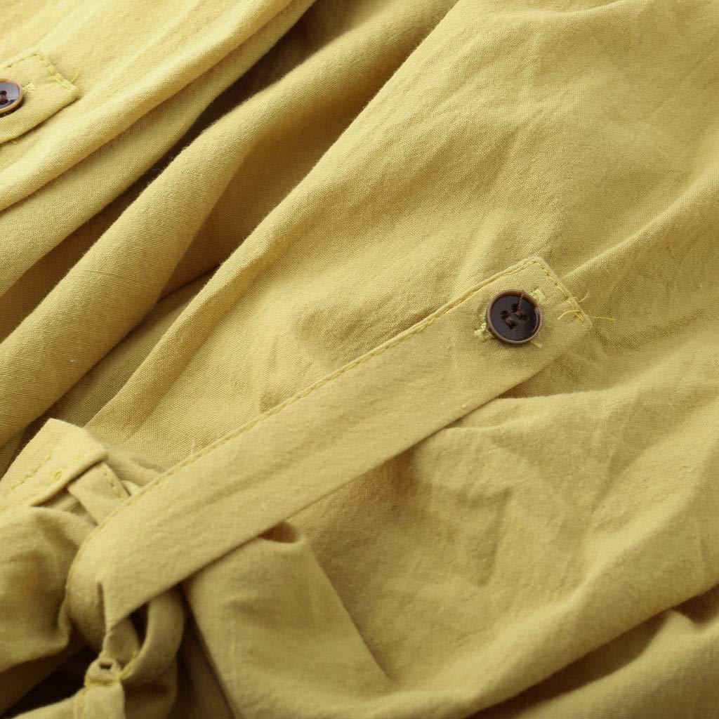 AG-T Camicie da Donna in Cotone e Lino di Camicetta a Maniche Lunghe con Ricamo a Maniche Lunghe