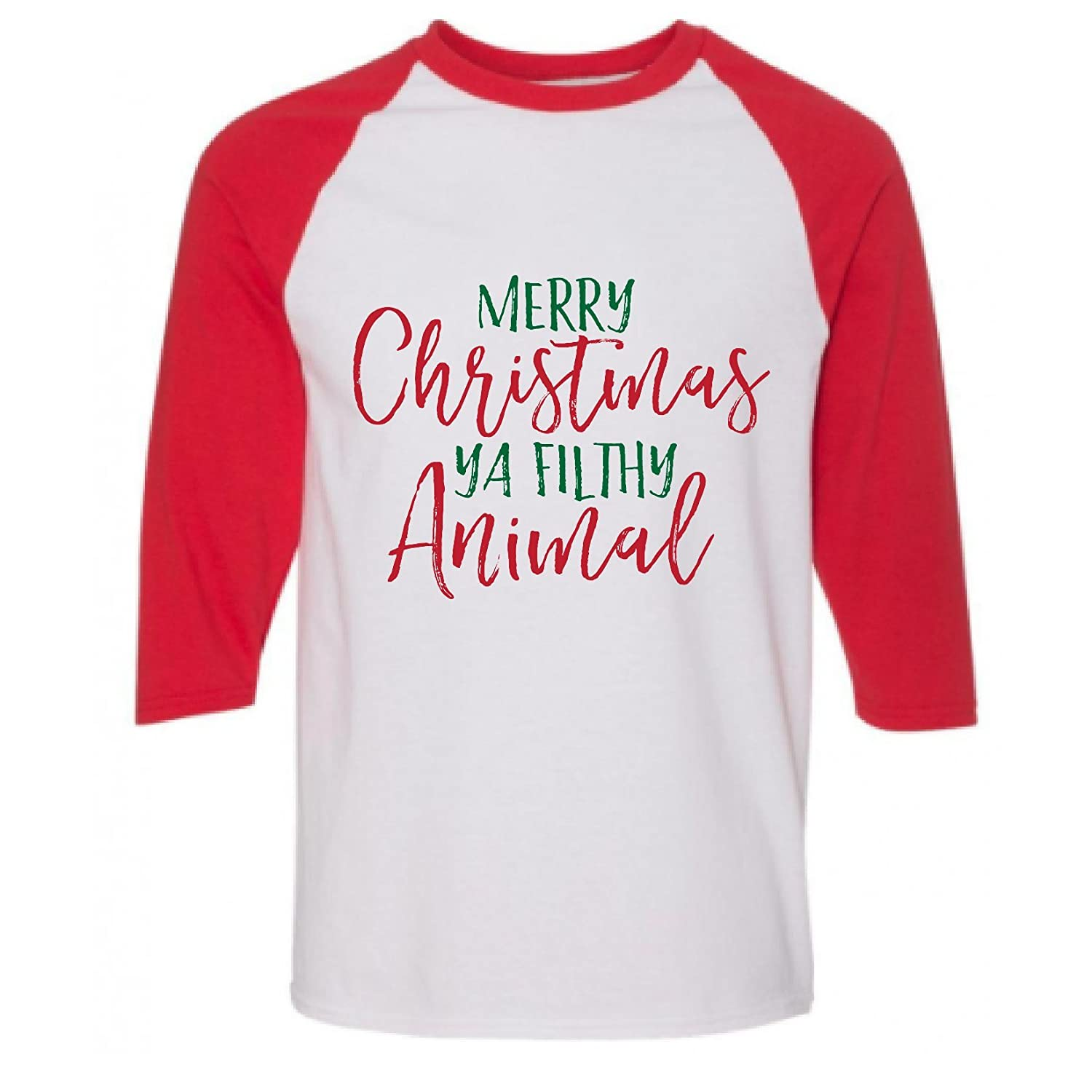 881ae8ce Amazon.com: Jasmine and Marigold Merry Christmas Ya' Filthy Animal Christmas  Festive Holiday Raglan Shirt: Clothing