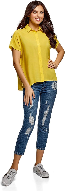 oodji Ultra Damen Lässige Viskose-Bluse Gelb (5201n)