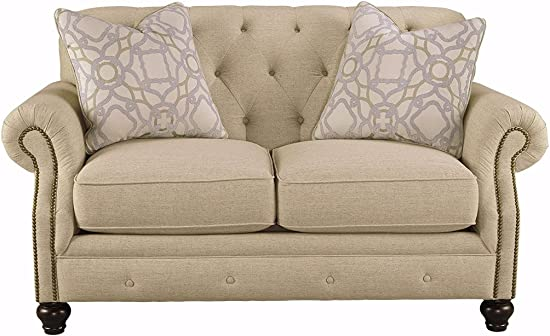 Signature Design by Ashley – Kieran Traditional Upholstered Loveseat, Natural Tan