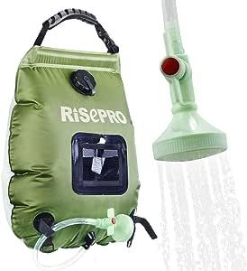 RISEPRO Bolsa solar de ducha, 5 galones/20 l. Bolsa de ducha con calefacción solar para acampar con agua caliente a temperatura 45 °C, para ...