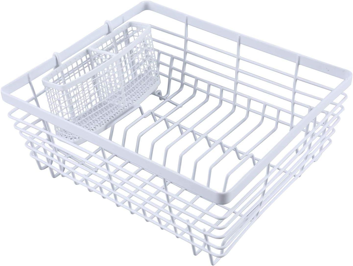 TQVAI Kitchen Dish Drying Rack with Full-Mesh Silverware Basket Holder, White