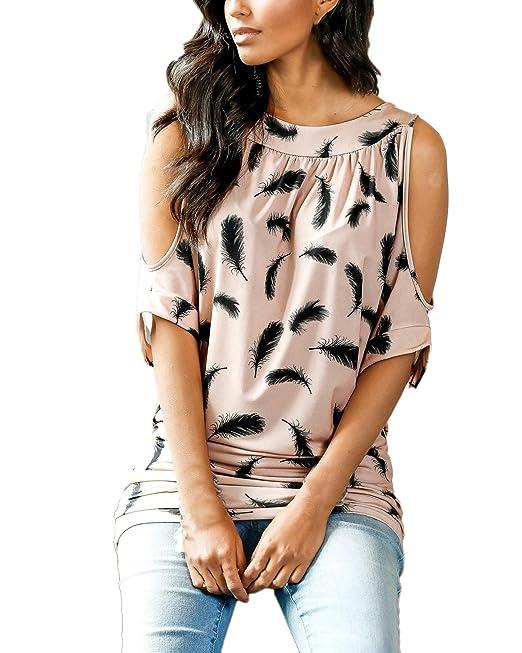 Auxo Mujeres Blusas Tops con Plumas Estampado Camisas Elegante sin Hombro Verano 2017 Rosa ES 46