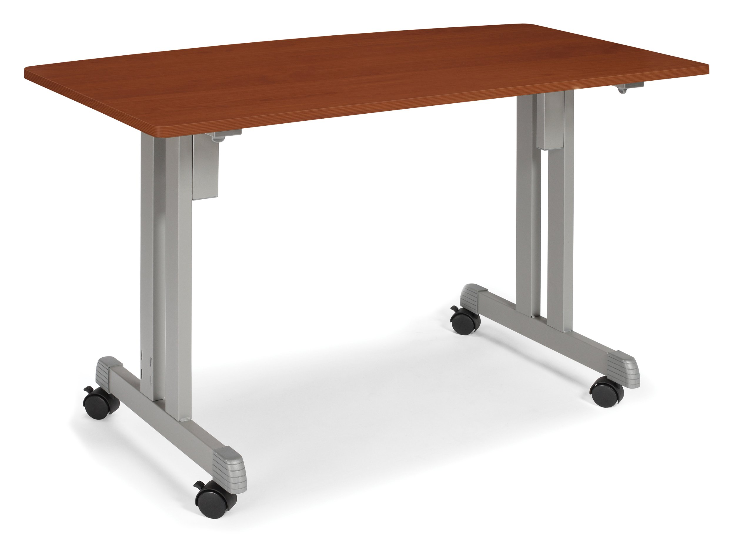 OFM 55111-CHY Multiuse Table Cherry with Silver Frame, 24 by 48-Inch
