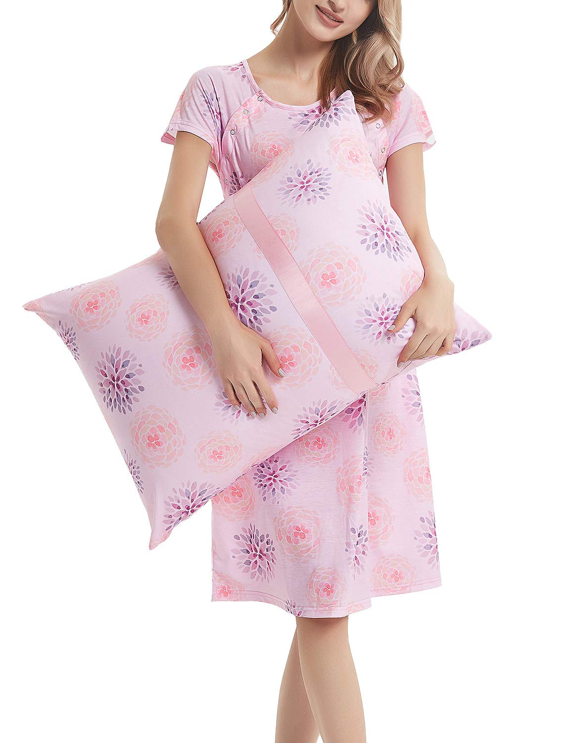 Maternity Labor Delivery Gown Hospital Nightgown Nursing Nightdress with Matching Pillowcase Pink Floral Dress XL