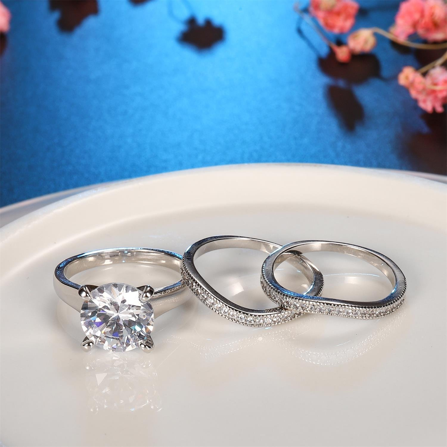 Platinum Plated Bridal Set - Round Cut Cubic Zirconia Rings Women Engagement Ring Set with Wedding Band by Hiyong (Image #5)