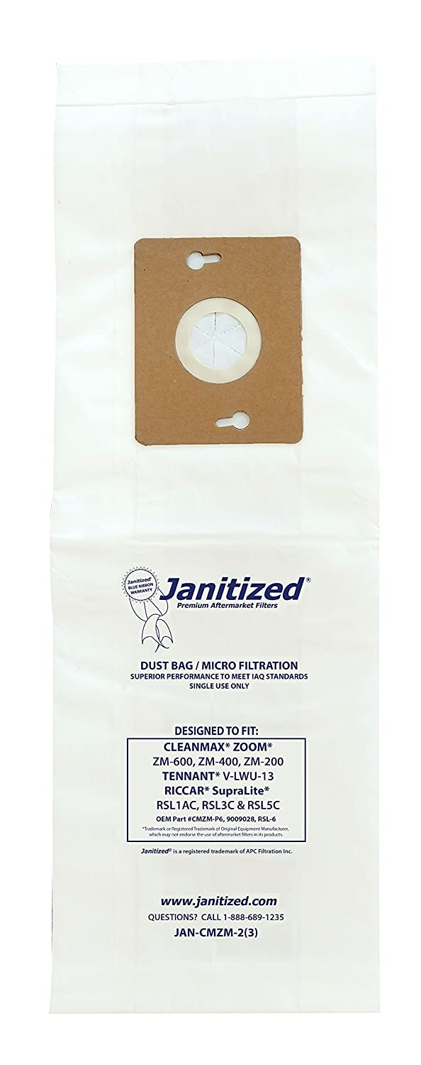 Janitized JAN-CMZOOM-2(3)-EA Premium Replacement Commercial Vacuum Bag Designed to fit CleanMax Zoom vacuums (Pack of 3)