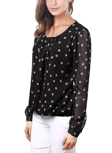Wajat plisado de la mujer estilo coreano Loose Camiseta de manga larga diseño de lunares gasa blusa Tops: Amazon.es: Ropa y accesorios