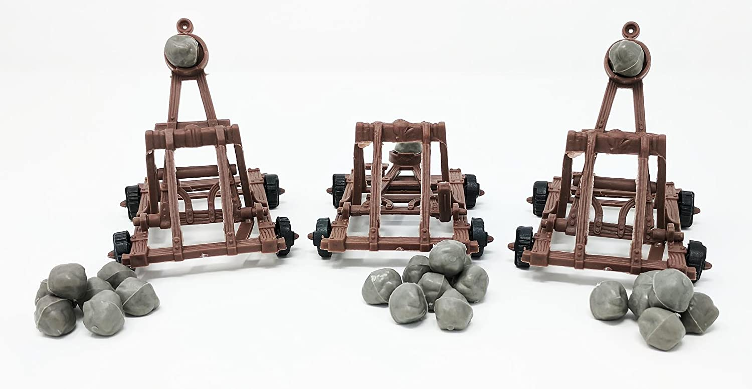 3 Pc Medieval Catapult with Boulders