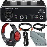 Behringer U-PHORIA UM2 2x2 USB Audio Interface and Accessory Bundle w/Headphones + Xpix XLR & TRS Cable + 2RCA Male Cable + Fibertique