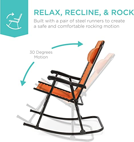 Best Choice Products Foldable Zero Gravity Rocking Mesh Patio Recliner Chair w Headrest Pillow – Orange