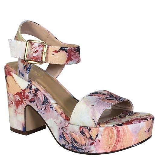 61fd6763327 BAMBOO Women s Chunky Heel Platform Sandal with Quarter Strap