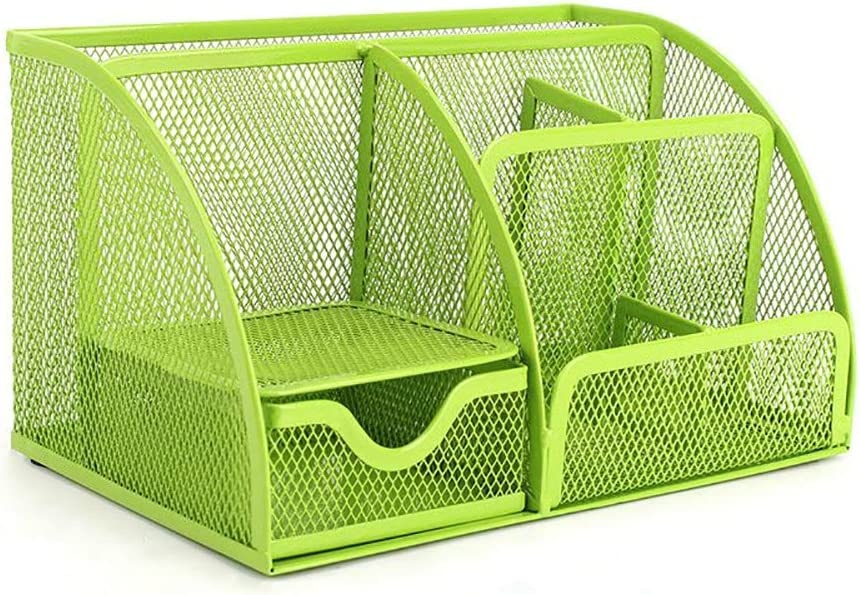 VANRA Office Supply Caddy Mesh Desk Organizer School Supply Holder 6 Compartments with Drawer (Green)