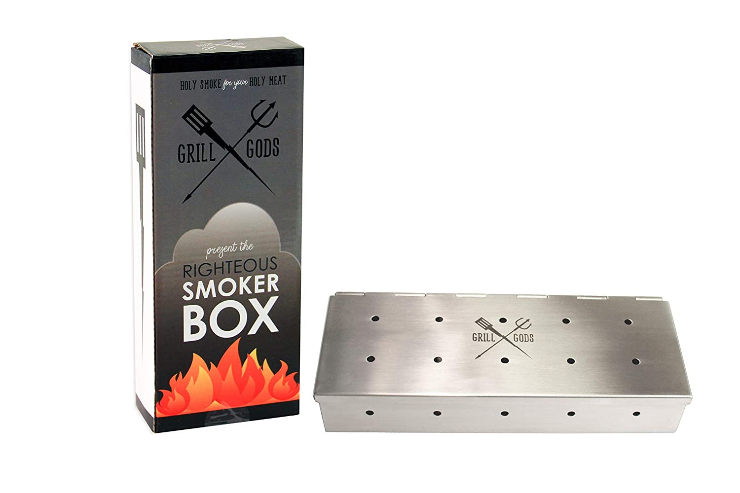 Grill Gods Smoker Box: Grilling Accessory for Charcoal or Gas Grill, Thick Stainless Steel Smoker, Durable Hinges on Smoker Box, Adds Delicious Smoker Flavor.