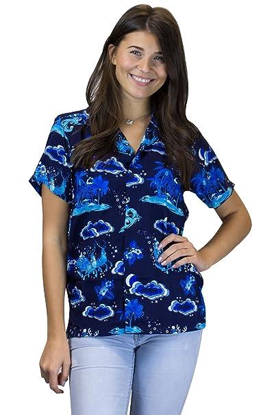 King Kameha Hawaiihemd Hawaiibluse Weihnachten, Christmas Island, Mono  Blau, XS