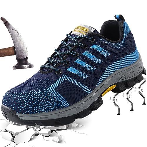 Zapatillas Calzado de Seguridad Hombre Mujer Deportivo Transpirable Senderismo S3 Trabajo para Comodas Puntera de Acero