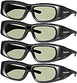 4 Pack 3DHeaven Rechargeable 3D Glasses Compatible with EPSON ELPGS03 3-D