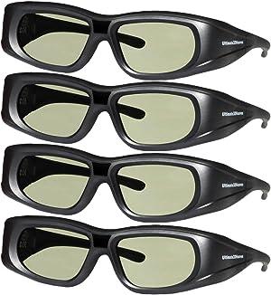4 Pack 3DHeaven Rechargeable 3D Glasses Compatible with EPSON ELPGS03 3-D Glasses