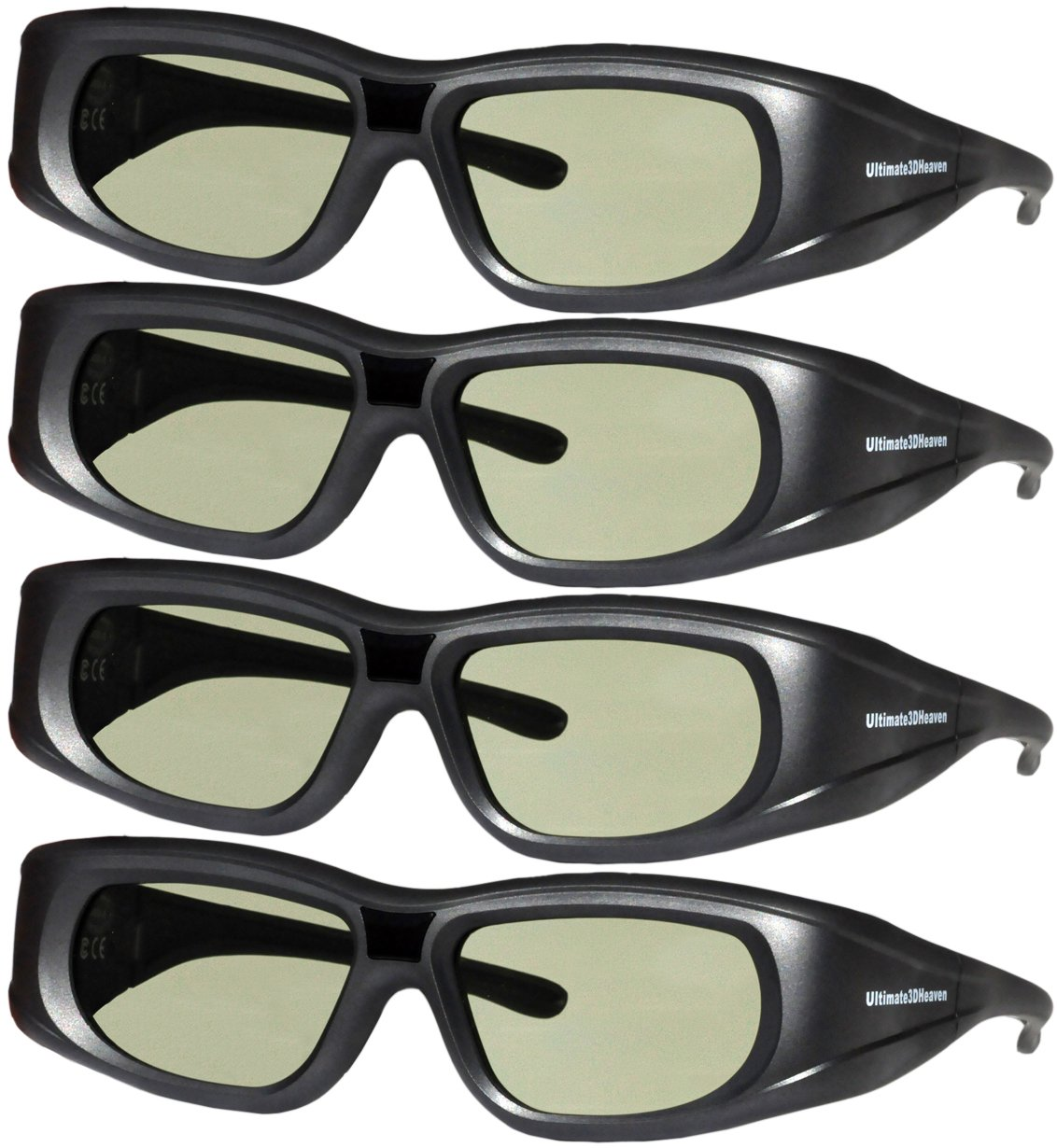 DLP LINK 144 Hz Ultra-Clear HD 4 PACK 3D Active Rechargeable Shutter Glasses for All 3D DLP Projectors - BenQ, Optoma, Dell, Mitsubishi, Samsung, Acer, Vivitek, NEC, Sharp, ViewSonic & Endless Others! 3DHeaven 4330079466