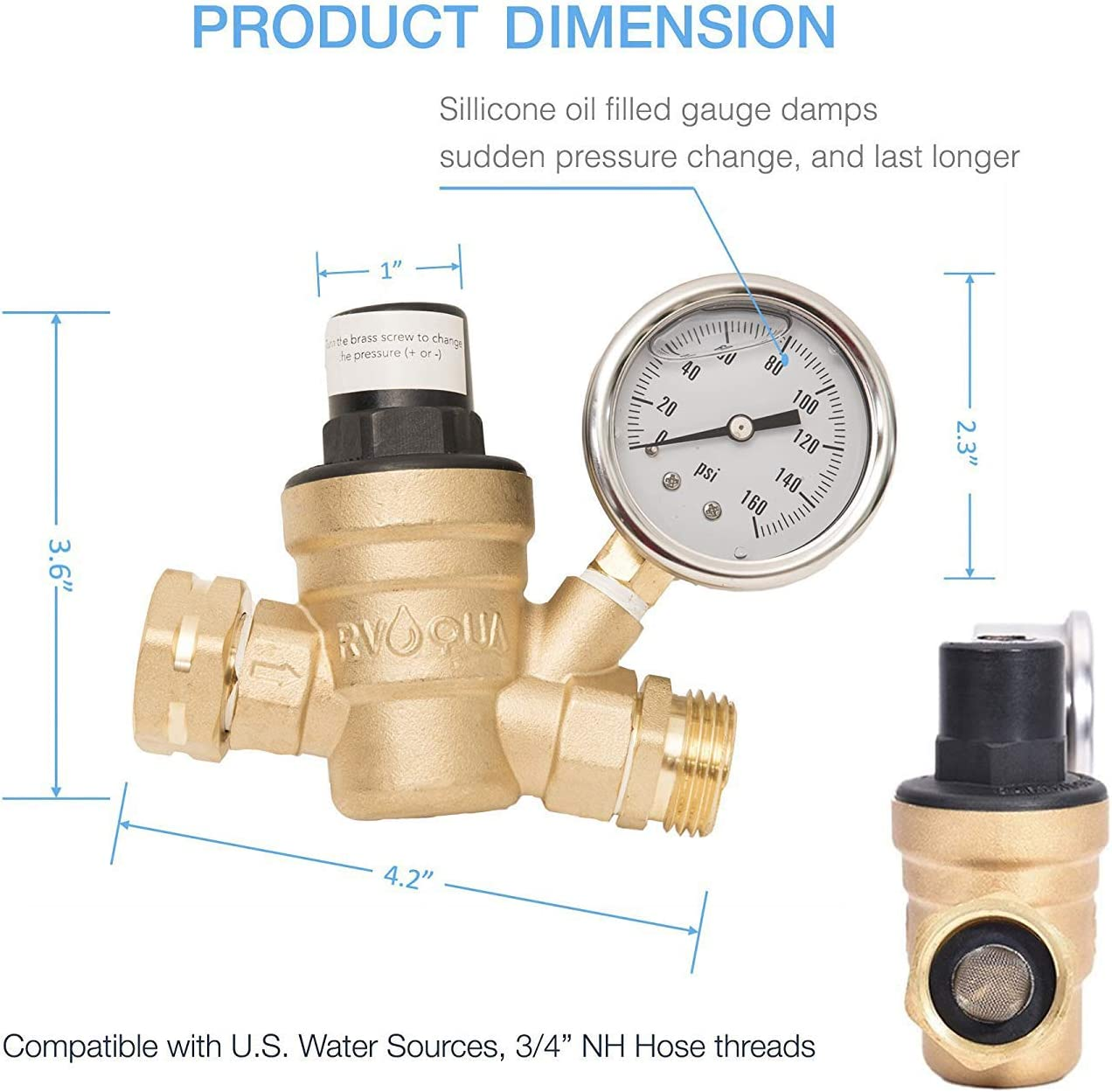 Fanovo RV Water Pressure Regulator Reduces Incoming Water Pressure to a Consistent 45-50 PSI-Lead Free Brass RV Water Hose Pressure Regulator with 3//4Male /× 3//4Female 3//43//4 Style 2