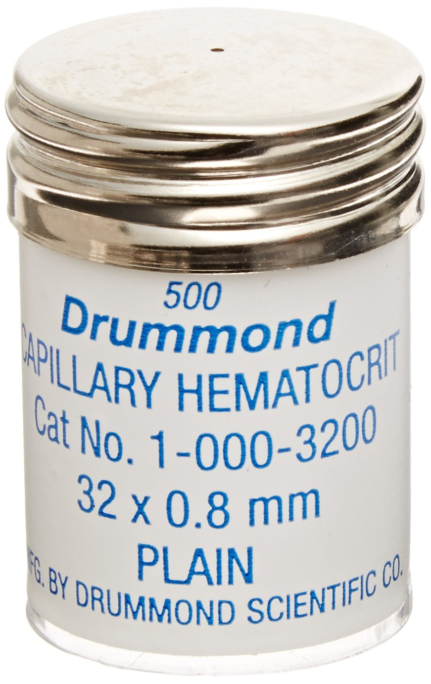 Drummond Scientific 1-000-3200 Microhematocrit Tubes, Plain, 32mm Length, 0.8mm OD, 0.1mm Wall Thickness (Pack of 500)