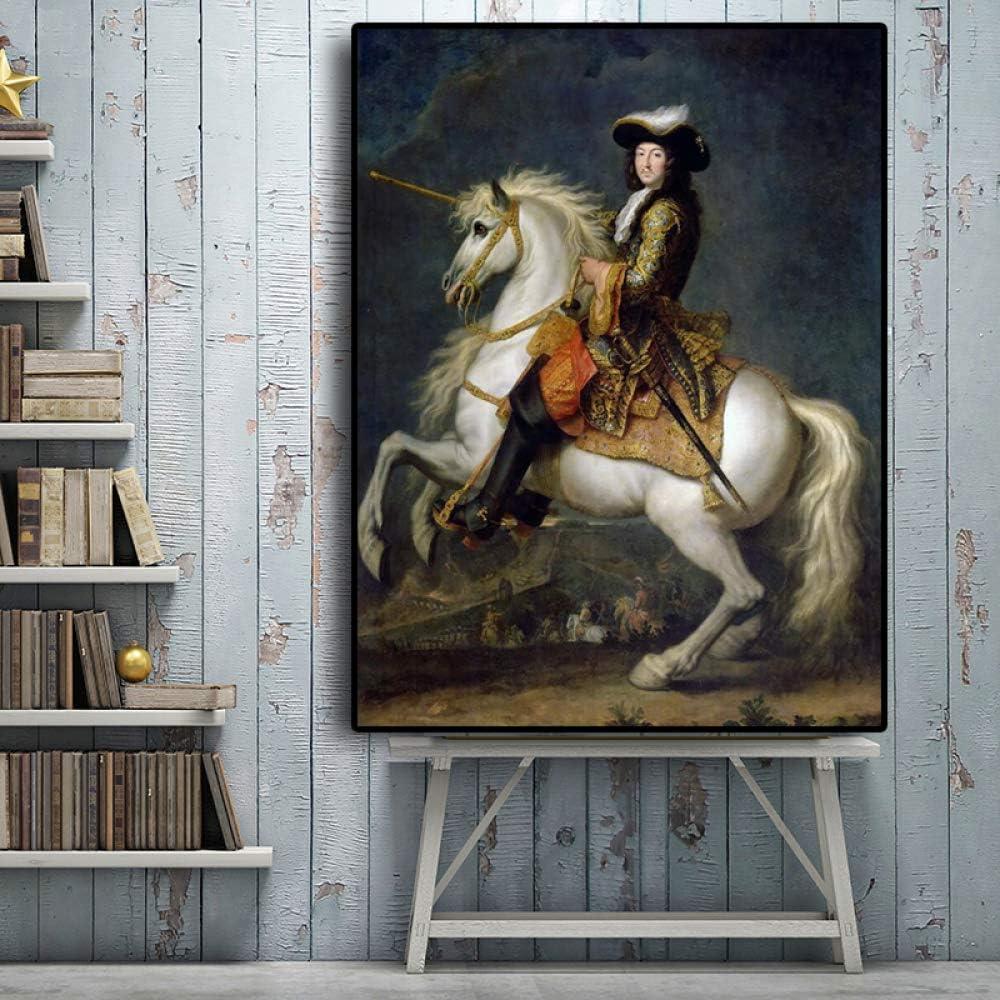 IHlXH Rey francés Luis XV con Retrato de Caballo Pintura al óleo sobre Lienzo Carteles e Impresiones Arte Cuadro de Pared para Sala de Estar A1 40x60 sin Marco