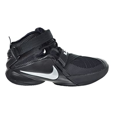 414143b05db Nike Youth Lebron Soldier 9 Boys Basketball Shoes Black Metallic Silver  77647.