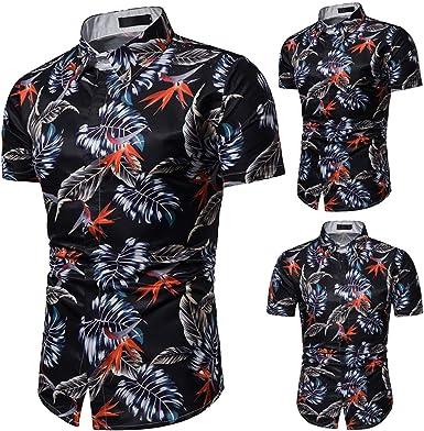 Cocoty-store 2019 botón de la Camisa Hawaiana de los Hombres de la Hoja de impresión de algodón hacia Abajo, M/L/XL/XXL/XXXL, Negro: Amazon.es: Ropa y accesorios