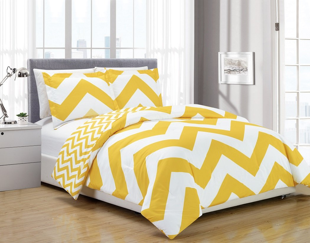 Chezmoi Collection 3-piece Zig Zag Comforter Bedding Set Queen, Yellow