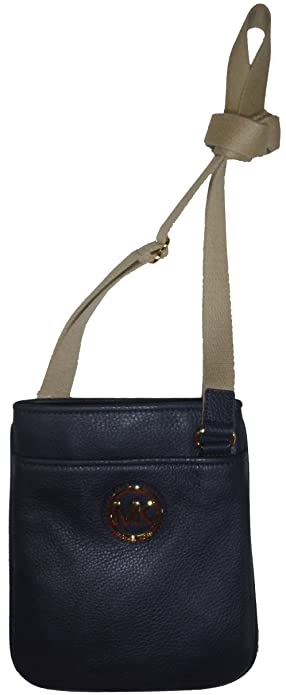 2476a2fc47cc Image Unavailable. Image not available for. Color: Michael Kors Fulton  Leather Crossbody Navy