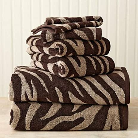 Better Homes And Gardens 6 Piece Zebra Bath Towel Collection (Chocolate  Brown/Clay