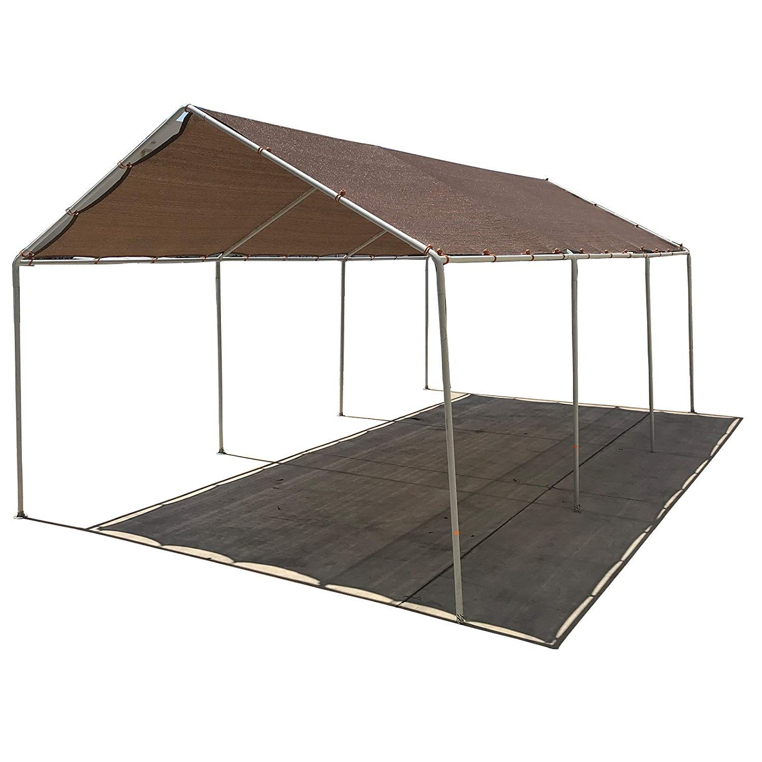 Alion Home Carport Canopy Replacement Permeable Sun Shade Cover for Low & Medium Peak(Frame Not Included) (10' x 20', Mocha Brown)