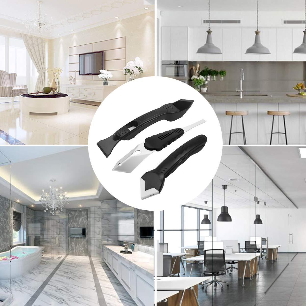 multifonctionnel 7 dans 1 grattoir professionnel doutil de silicone r/égl/é pour le plancher de salle de bains de cuisine Outil de jonction de silicone de solvant de solvant