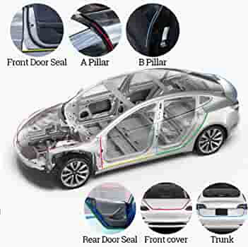 285cm Black Windshield Roof Guard Noise Insulation Seal Strip For Tesla Model 3