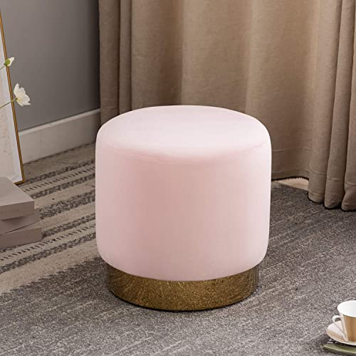 Artechworks Modern Round Ottoman with Gold Plating Metal Base, Velvet Upholstered Footrest Coffee Table Stool for Living Room, Bedroom, Home, Office, Pink