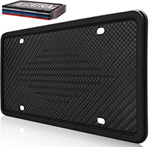 Intermerge License Plate Frame Holder - Universal American Auto Silicone License Plate Cover Rust-Proof Rattle-Proof Weather-Proof with 3 Drainage Holes Car Black License Plate Frame Black-1Pack