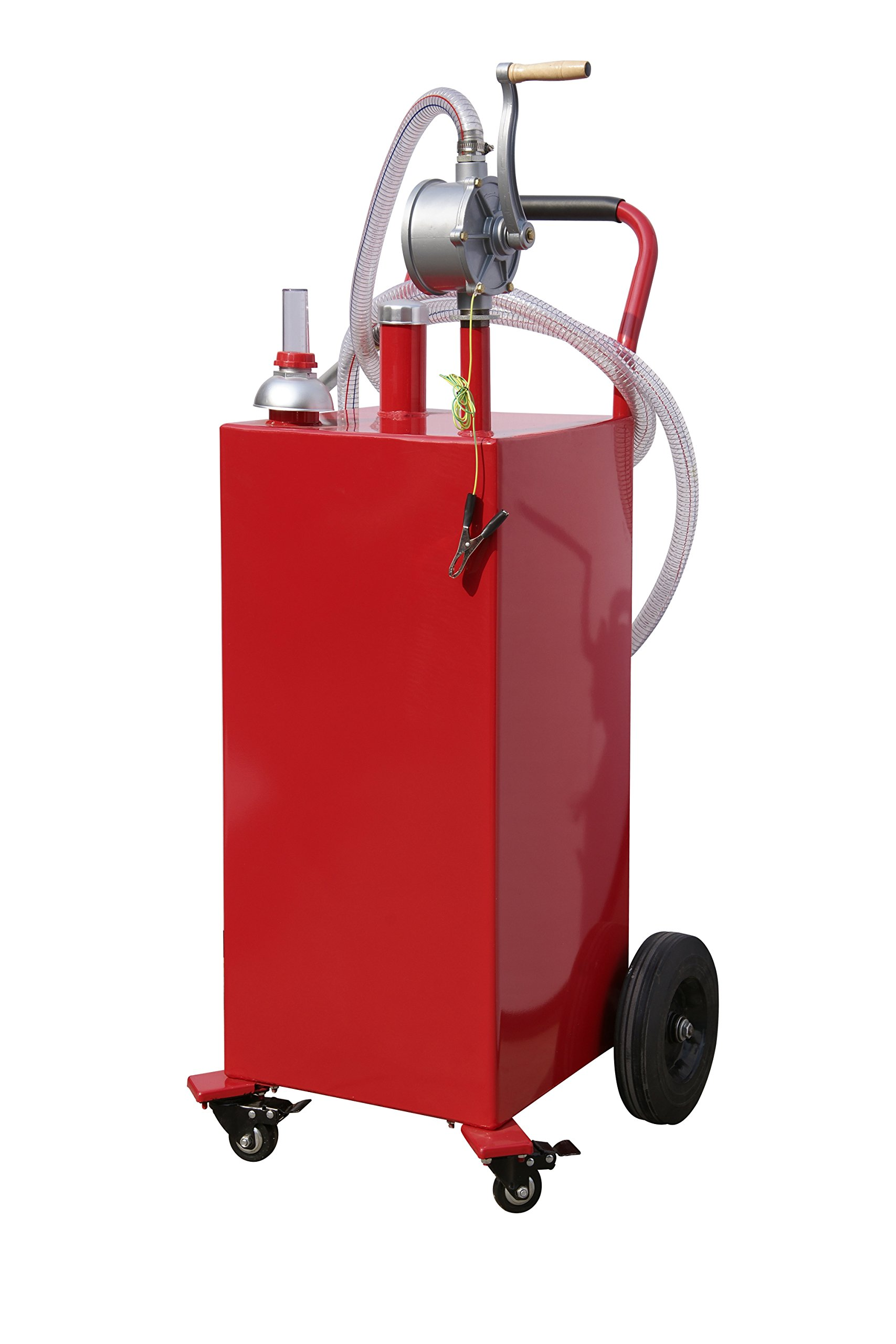 Arksen 35-Gallon Gas Caddy Fuel Tank Portable Storage Transfer Gasoline with Pump 35-Gallons Capacity, Red