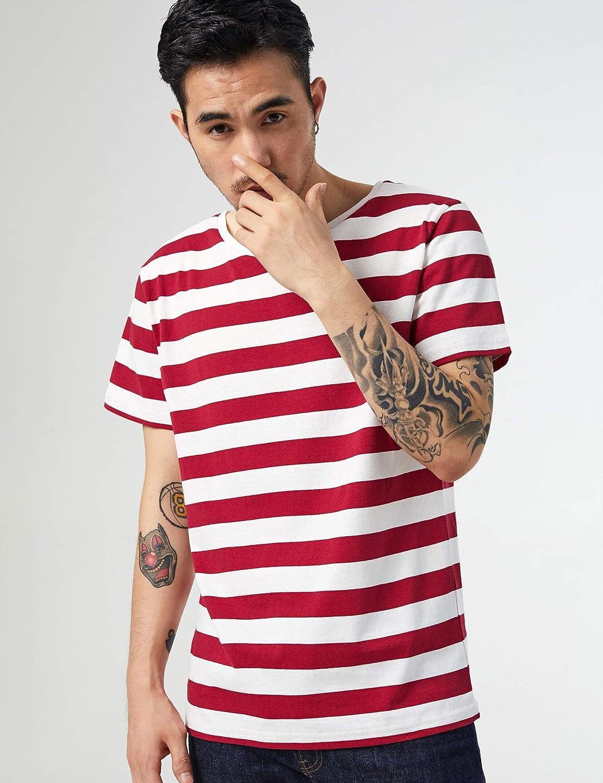 Zbrandy Striped Shirt for Men Crewneck Stripe Tee Sailor T-Shirt Cotton Top Basic